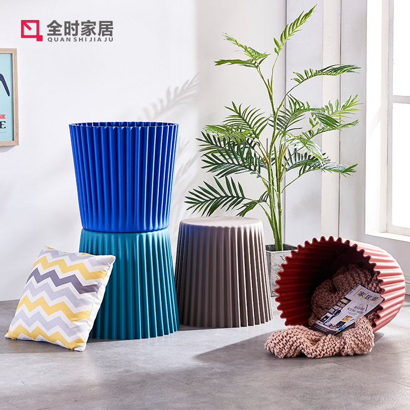 Modern Fashion Design Coffee Table Plastic Small Stool Round Stool Creative Dirty Clothes Basket Shoe Stool Multifunctional