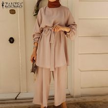 Abaya Turkey Muslim Clothing Women's Autumn Blouse Long Pants 2021 ZANZEA Long Sleeve Shirts Female Belted Shirts Plus Size 2PCS