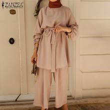 Abaya Turquía ropa mujer musulmana de otoño blusa pantalones largos 2021 ZANZEA camisas de manga larga Mujer cinturón camisas de talla grande 2 uds