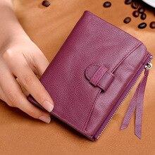 Luxury Ultra-Thin Two Fold Women Wallet Sheepskin Handbag Short South Korea Genuine Leather Coin Purse Soft and Comfortable