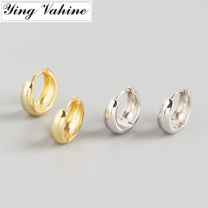 ying Vahine 100% 925 Sterling Silver Geometric Round Stud Earrings for Women Fashion Jewelry Best Gifts