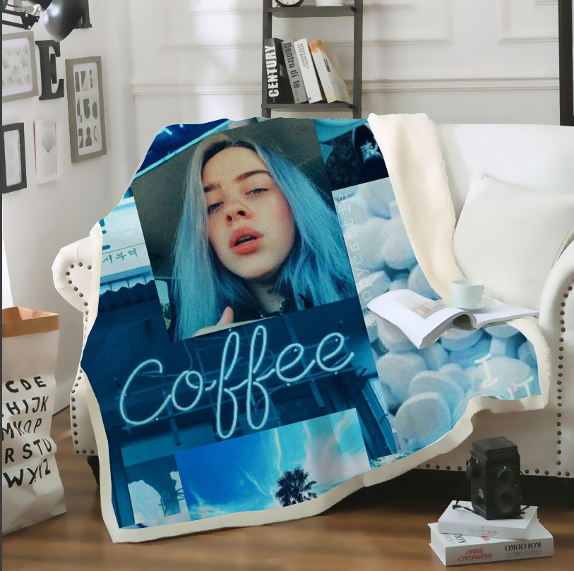 SONSPEE 3D Print Blue Billie Eilish Aesthetic Bedspread Throw Blanket Sofa Bed Chair Rest Bedding Home Decor For Adult Kids B23