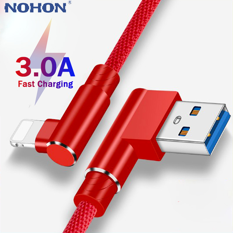 90 Degree USB Data Charger Cable For iphone X XR 10 XS Max 7 8 6 s 6s Plus 5 5S SE Fast Charging Origin Mobile Phone Long Short|Mobile Phone Cables| |  - AliExpress