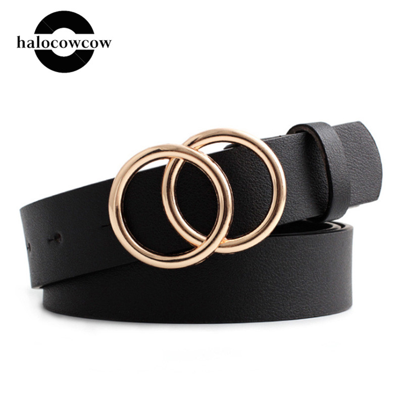 Luxury Brand Belt Black Woman Gold Buckle Leather Belts For Women Jeans Fashion Ladies Girls Waist Ceinture Femme Waistband 2020