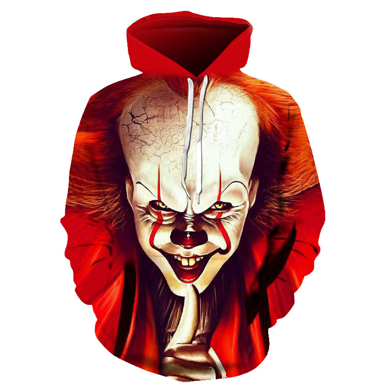 New Horror Movie The Pennywise IT Clown Stephen King's It Sweatshirt Horror Movie Hoodie Halloween Party Hip Hop Street Costume