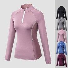 Aipbunny frente zíper autum yoga camisas topos vestuário esportivo de fitness esporte t camisa mulher ginásio treino correndo roupas para mulher