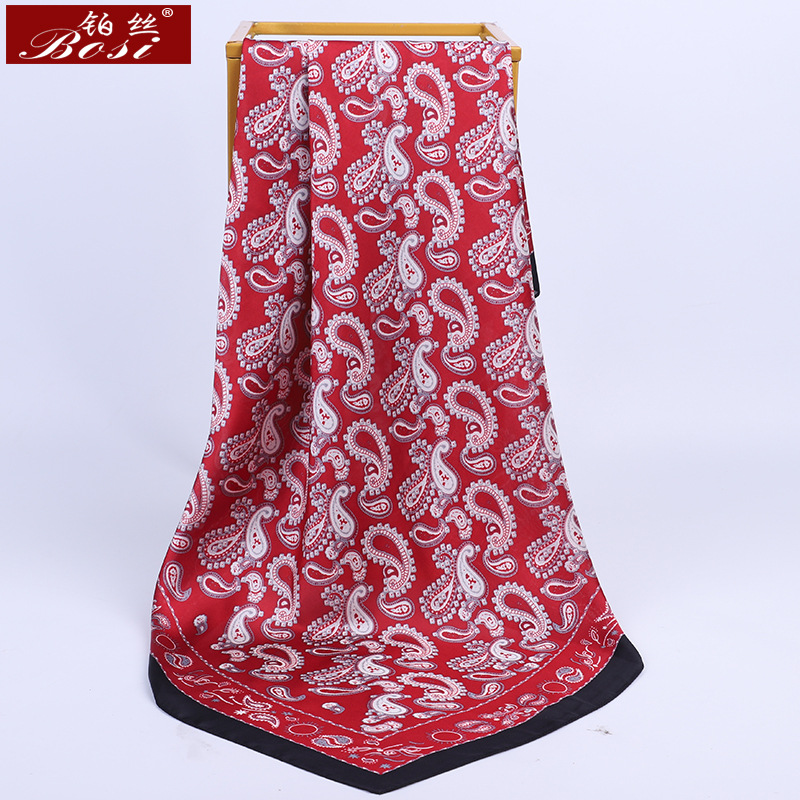 BOSI 2020 Fashion Scarf Square Cashew Nuts Print Silk Satin Big Scarf For Women 90*90cm Head Hijab Shawl Ladies Red Scarves