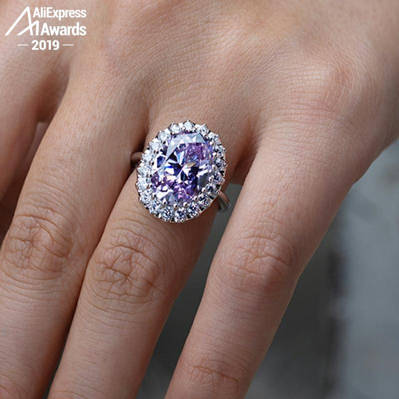 NOT FAKE 5 Carat Oval Cut 14*10mm S925 Sterling Silver Ring SONA Diamond solitaire Fine Ring citrine sapphire amethyst