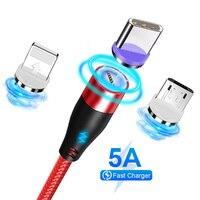 Cavo di ricarica magnetico 5A cavo di ricarica rapida USB tipo C per magnete iPhone cavo di ricarica dati Micro USB cavo per telefono cellulare