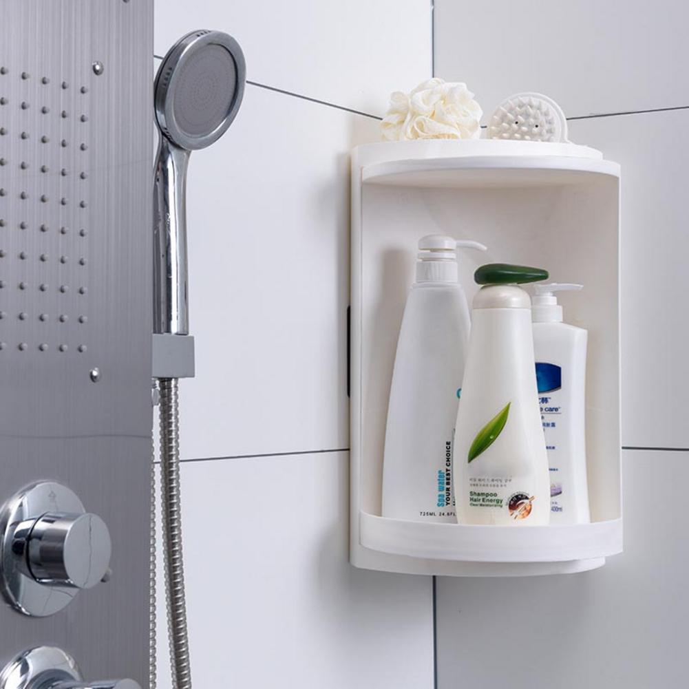 Bathroom Corner Shelf Kitchen Toilet Rotating Shelf Triangle Wall Mounted Storage Rack Locker Corner