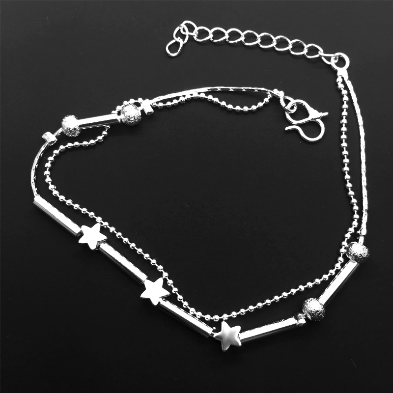 Silver color Stars Anklet Double Layer Charms Ankle Bracelet Jewellery Anklets For Women Silver plated Leg Foot Bracelet Jewelry