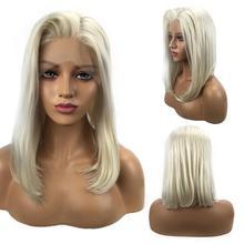 12 дюймов блонд Бразильский передний кружевной человеческие короткие прямые человеческие волосы боб парики ручной работы Боб кружевные передние парики для модных женщин