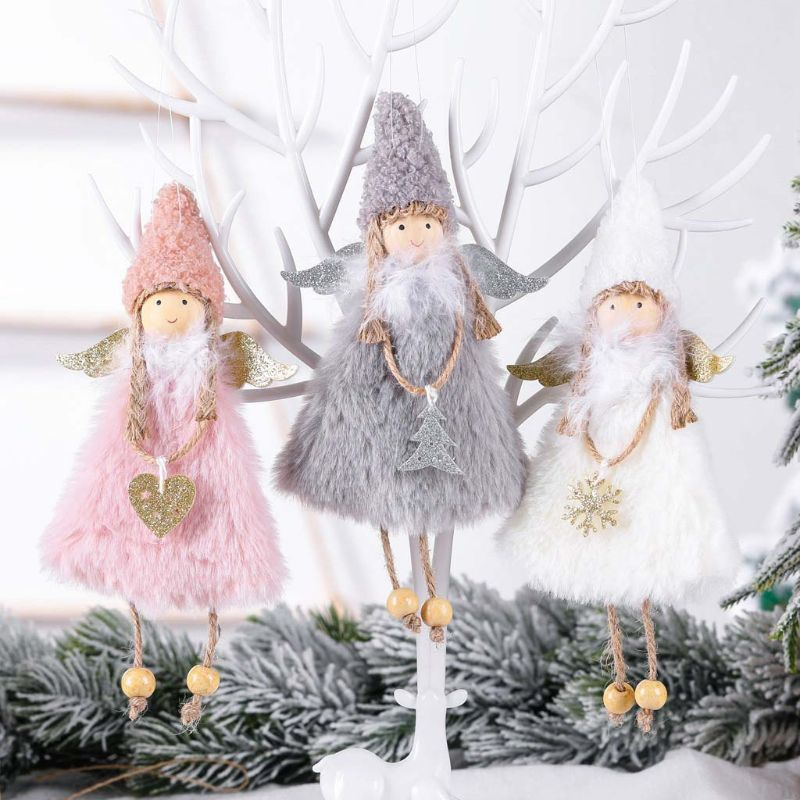3pcs Cute Christmas Heart Angel Doll Toy Ornament Hanging Xmas Tree Home Party Decoration Kids Gift