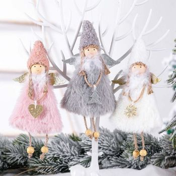 3pcs Cute Christmas Heart Angel Doll Toy Ornament Hanging Xmas Tree Home Party Decoration Kids Gift - discount item  17% OFF Festive & Party Supplies