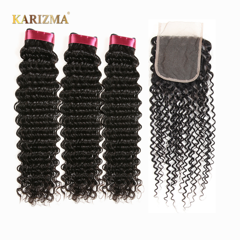 Karizma Deep Wave Bundles With Closure Non Remy Human Hair 3 Bundle Lace Closure Deals Peruvian Hair Weave Bundles With Closure