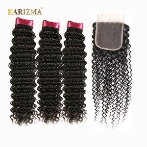 Image 1 - Karizma Deep Wave Bundles With Closure Non Remy Human Hair 3 Bundle Lace Closure Deals Peruvian Hair Weave Bundles With Closure