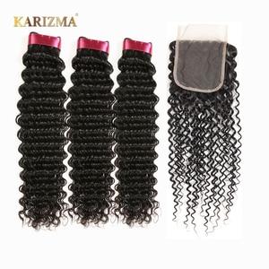Karizma Deep Wave Bundles With Closure Non Remy Human Hair 3 Bundle Lace Closure Deals Peruvian Hair Weave Bundles With Closure