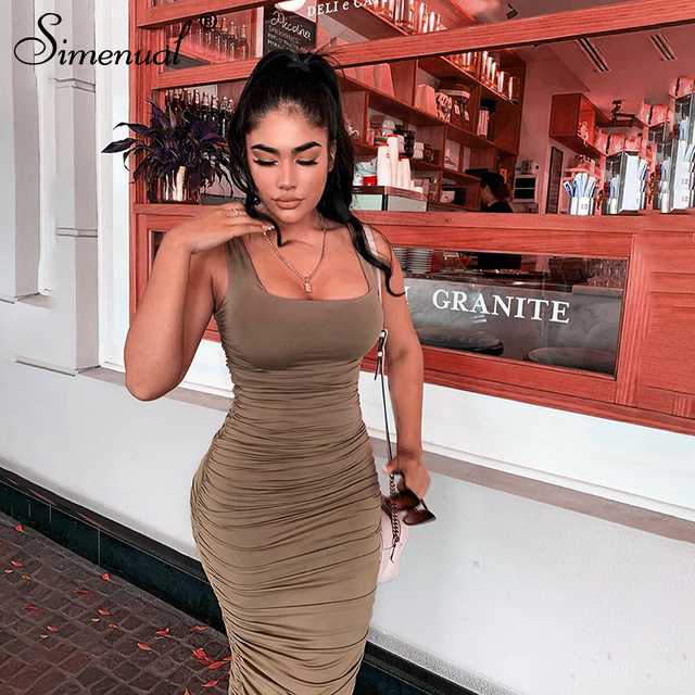 Simenual Ruched Solid Sexy Bodycon Party Dresses Women Fashion Sleeveless Skinny Clubwear Basic Hot Midi Dress 2020 Slim Female 1