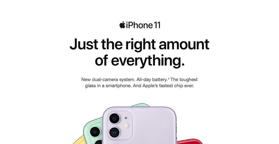 Apple iPhone 11   4G смартфон A13 с бионическим чипом 6,1 дюймов жидкий сетчатый HD ЖК-дисплей Двойная камера