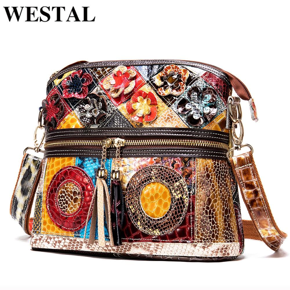 WESTAL Patchwork Shoulder Bags For Women Bags Genuine Leather Small Designer Crossbody Messenger Bags With Tassel Female Bag 733