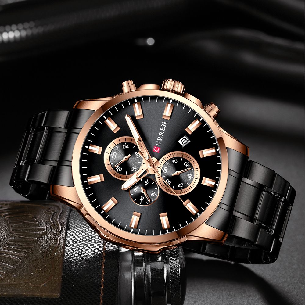 CURREN Fashion Watches Men Coffee Clock Men Quartz Wristwatch Stainless Steel Band Chronograph Watch Male Relogio Masculino