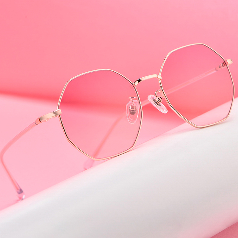 Unisex Retro Polygon Metal Eyewear Vintage Retro Optical Eye Glasses Anti Blue Light Transparent Spectacle Frames