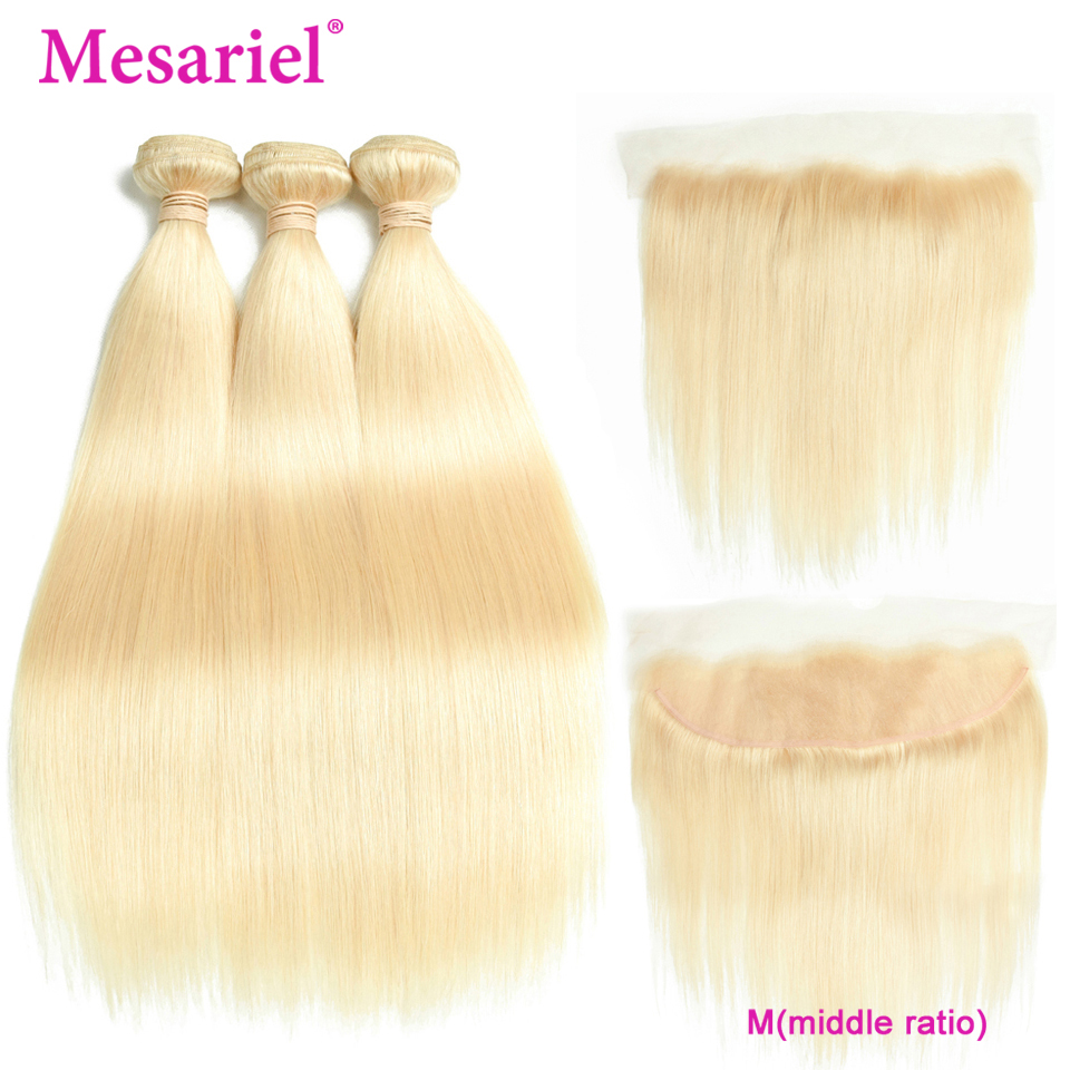 Mesariel Peruvian Straight Human Hair Bundles With Frontal 13*4 M Remy Blonde Hair Weave 3 Bundles With Lace Frontal Closure 613
