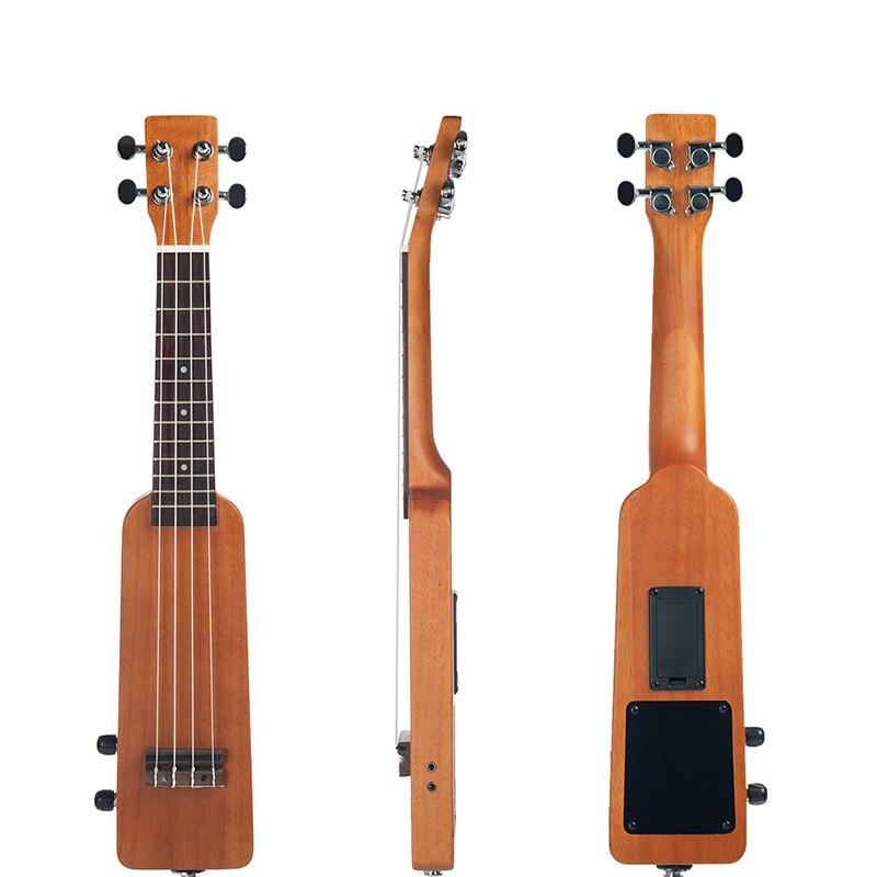 Electric Ukulele Creative 21Inch Solid Wood Okoume Electric Ukulele Ukelele Uke With 3.5mm And 6.35mm Outputs Including Carrying