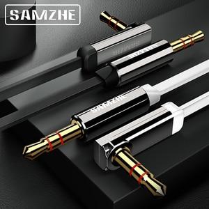 SAMZHE 3.5mm câble Aux 90 degrés Audio câble plat stéréo Audio plaqué or câble auxiliaire pour voiture téléphone portable écouteurs Beats