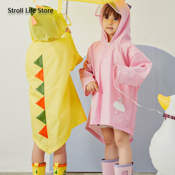 Yellow Girls Raincoat Kids Dinosaur Waterproof Pink Children Rain Coat Rain Poncho Partner Windbreaker Impermeable Gift Ideas