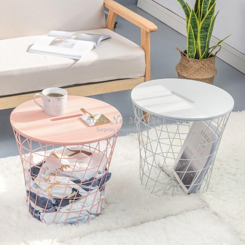 Support de sol décoratif Style nordique fer créatif petit panier de rangement en métal avec couvercle en bois rose bleu Table d'appoint bureau - 2