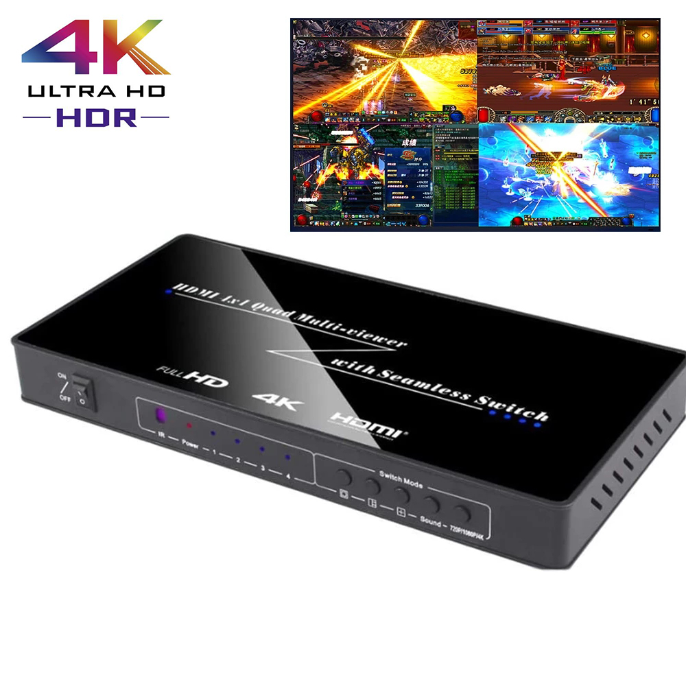 4X1 HDMI Multi-viewer HDMI Quad Screen Real Time Multiviewer with HDMI seamless Switcher function TV Wall Controller Support 4K