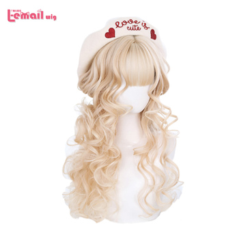 цена на L-email wig Long Curly Lolita Wigs with Bangs Blonde Chocolate Harajuku Cosplay Wig Heat Resistant Synthetic Hair Party