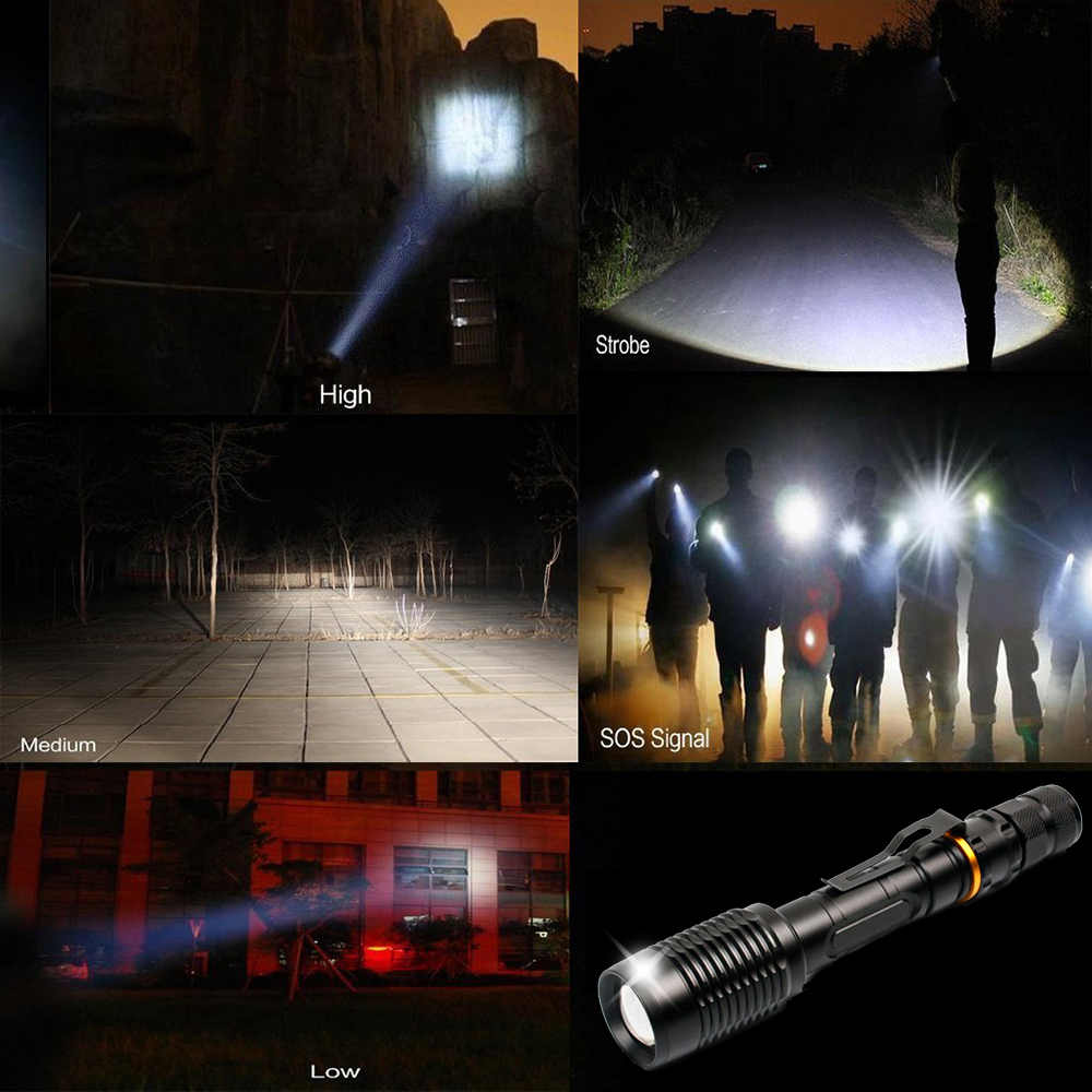 Купить с кэшбэком Super bright LED Flashlights T6/L2 Torch Waterproof zoomable led torch For 2x18650 batteries aluminum+charger+Gift box+Free gift