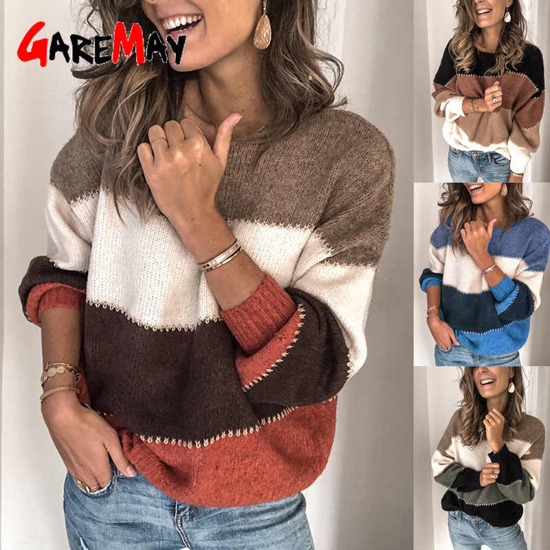 Loose Striped Thick Sweater Womens Pullover Autumn Winter Sweaters Plus Sizes High Quality Oversized Color Block Sweater Female