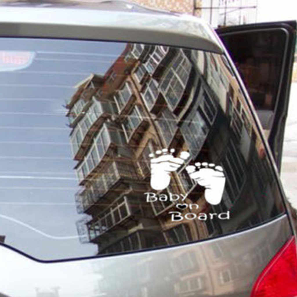 2019 New footprint Car paper Quality Baby On Board Vinyl Car Graphics Window Vehicle Family Sticker Decal Decor Auto Wholesale