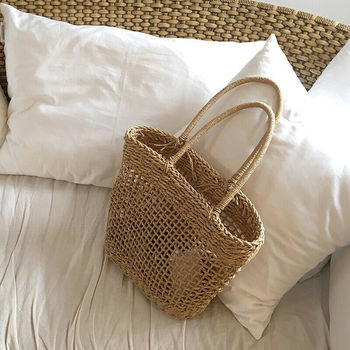 Women Straw Shopping Basket Beach Tote Summer Shoulder Bag Handbag 6