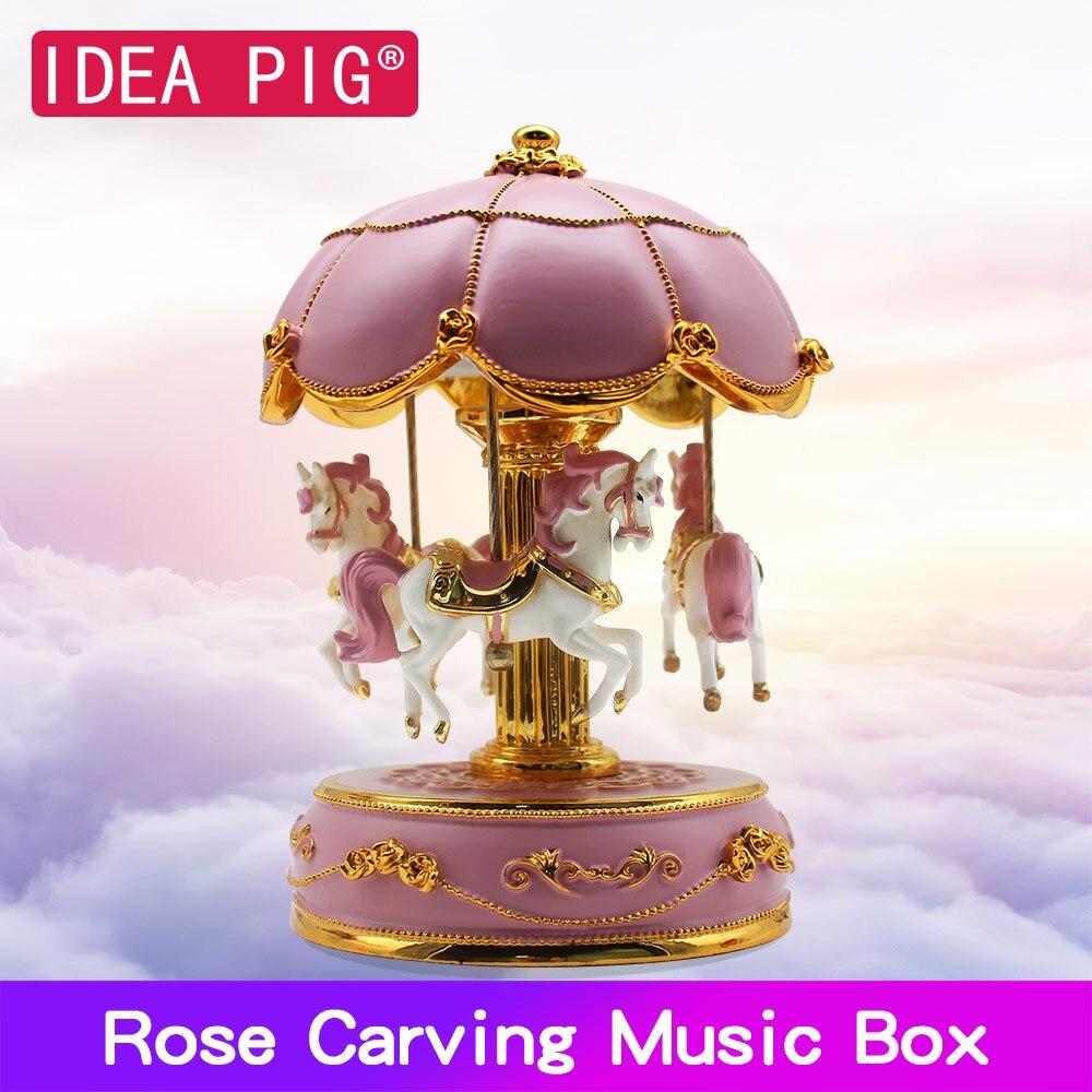 Carrossel Caixa de Música Cavalo de Presente De Natal De Madeira DIY Caixa de Decoração para Casa Salão de Festas de Aniversário Para Casa Acessórios de Decoração