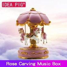 купить Merry-Go-Round Music Box Gift DIY Wooden Christmas Horse Box Decor for Home Birthday Party Room Home Decoration Accessories дешево
