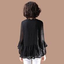 Большой размер, кружевной пуловер, рубашка, Женская свободная повседневная верхняя одежда с длинными рукавами, стиль