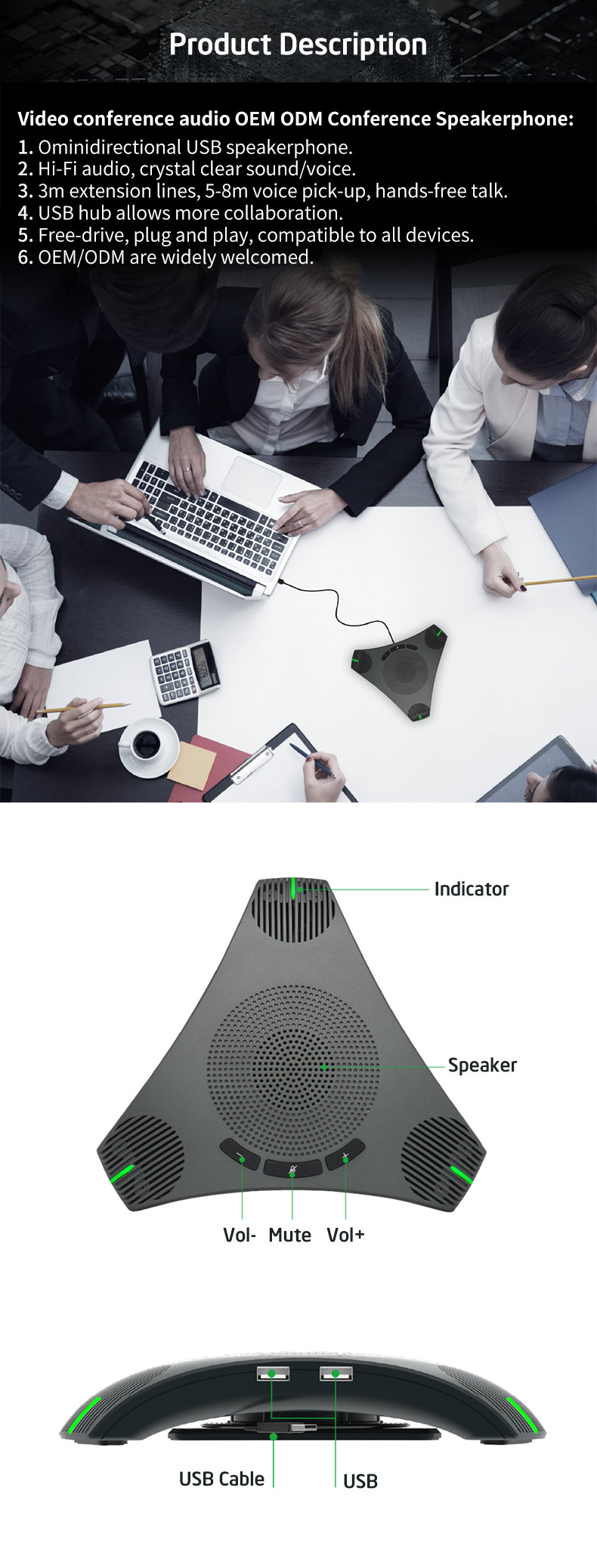 Interview USB Microphone with Speaker for Computer,Conference Room Omnidirectional Microphone with 360/º Voice Pickup,Mute//Volume//Mic Touch-Sensor Button,VoIP Call,Skype Webinar