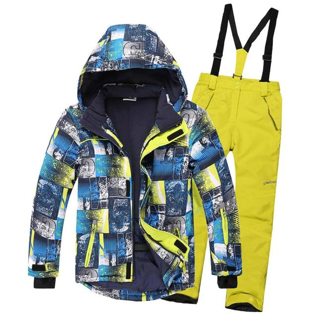 Kids Ski Suit Children Windproof Waterproof Warm Girls Boy Snow Set Bib Pants Winter Skiing Snowboarding Jacket