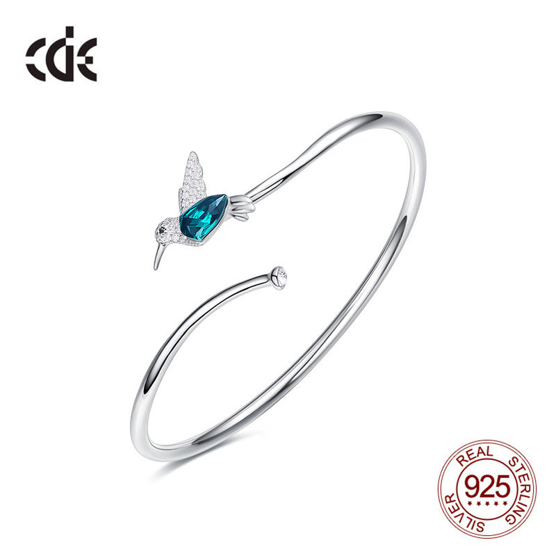 Cdyle 925 Sterling Silver Hummingbird Bangle Bracelet with Green Austrian Crystal Fashion Elegant Chic Animal Jewelry Bijoux