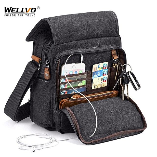 Mini Men Canvas Bag Wear Resistant Fashion Handbag Business Briefcase Crossbody Bags Travel Casual Retro Bags For Male XA508ZC