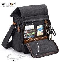 Mini mężczyźni płócienna torba odporna na zużycie modna torebka biznesowa teczka torba podróżna na ramię dorywczo torby Retro dla mężczyzn XA508ZC