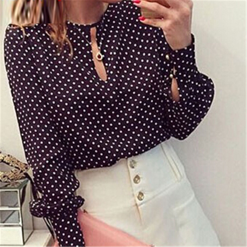 New Style OL Blouse Lady Shirts Work Wear Elegant Women Slim Long Sleeve Chiffon Blouses Dot Print Shirt For Femme