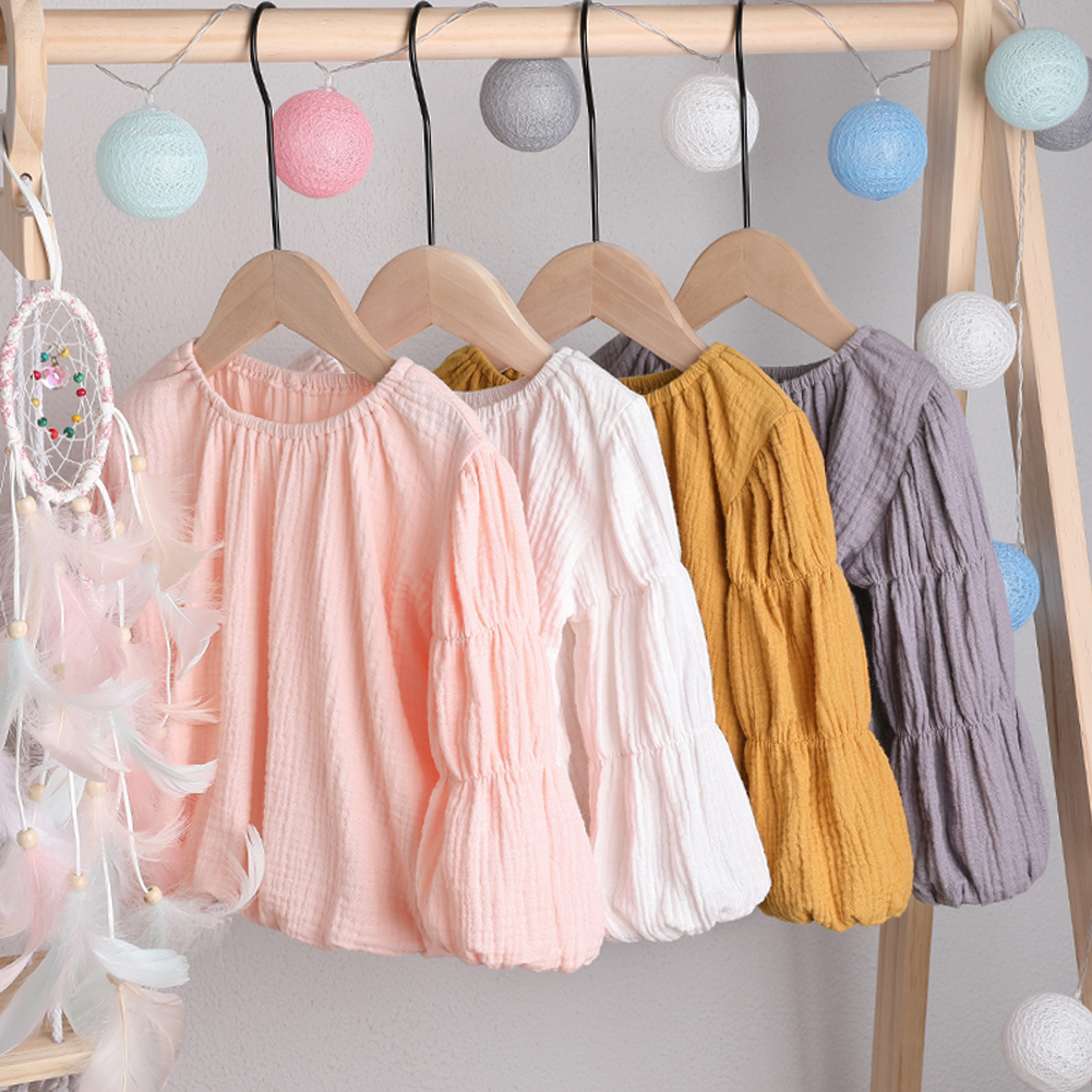 Toddler Newborn Baby Kids Girls Solid Lantern Sleeve Shirt Tops Outfits Clothes