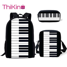 Thikin Piano Music Pattern 3Pcs Children Fashion School Bag for Girls Backpack Teen Boys Kids Book Bags
