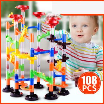Twórcze dzieci diy zmontowane Stereo Track Ball Building Blocks 105 sztuk labirynt rury zabawki do gier tanie i dobre opinie Z tworzywa sztucznego 32*8*23cm Large particles Plastics Plastics 100-200 tablets