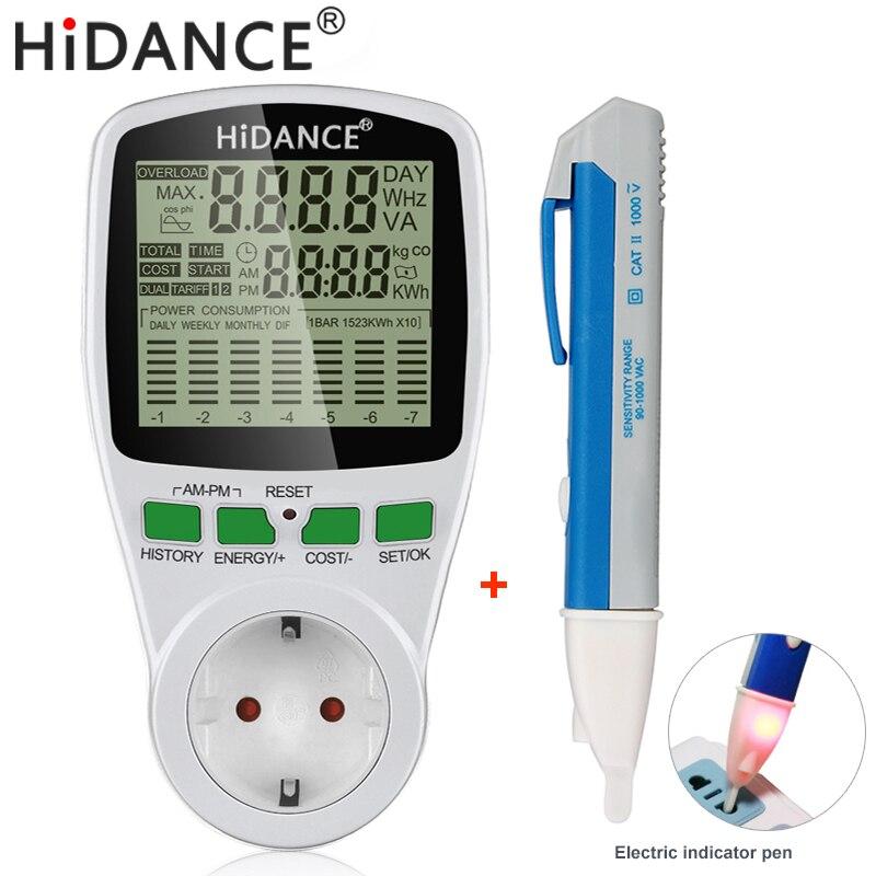 Счетчик электроэнергии HiDANCE с европейской вилкой, ваттметр с гнездом, измеритель стоимости электроэнергии, измерительный разъем, анализато...